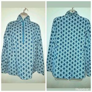 Lands End Geo Print 1/4 Zip Fleece Pullover Sz L